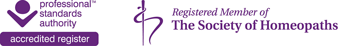 Professional Standards Authority Accredited Register and Registered Member of The Society of Homeopaths
